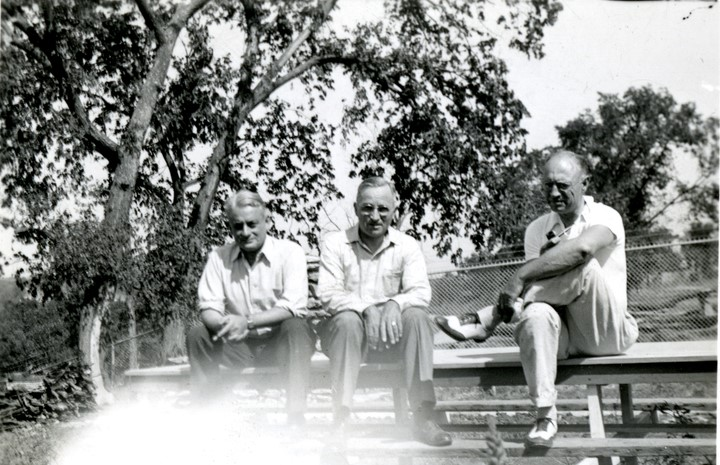 In the early 1930s Alex Sachs (left) and N.T. Veatch (right) served as engineers under Harry Truman (center) during his time as Jackson County presiding judge.