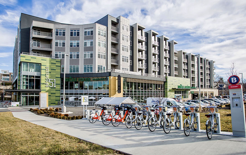 The Brookside 51 apartment and Whole Foods development opened in 2018 near the planned streetcar terminus.