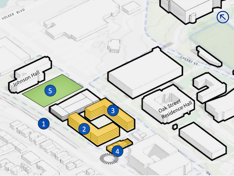 The (1) streetcar terminus would serve a (2) 200- apartment project, a (3) 300-unit project for first-year students, (4) retail space and (5) recreational fields in a conceptual master plan prepared by the University of Missouri-Kansas City.