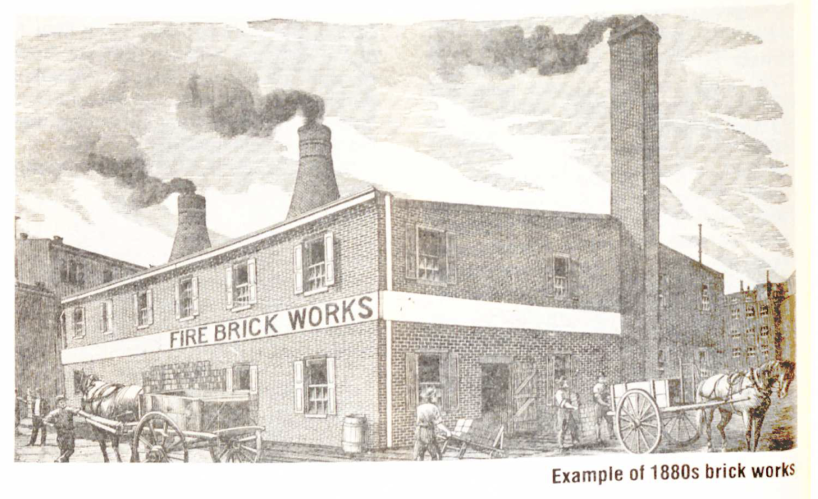 A sketch that shows an example of 1880s brick works.
