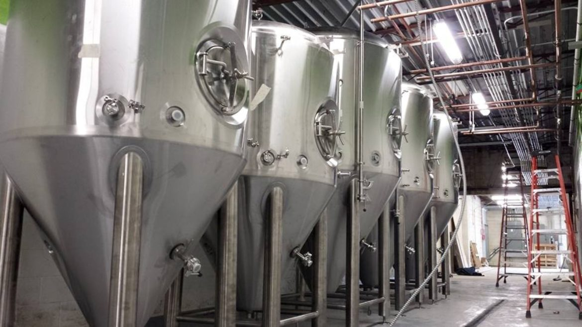 Fermentation tanks at Crane Brewing Co. in Raytown.