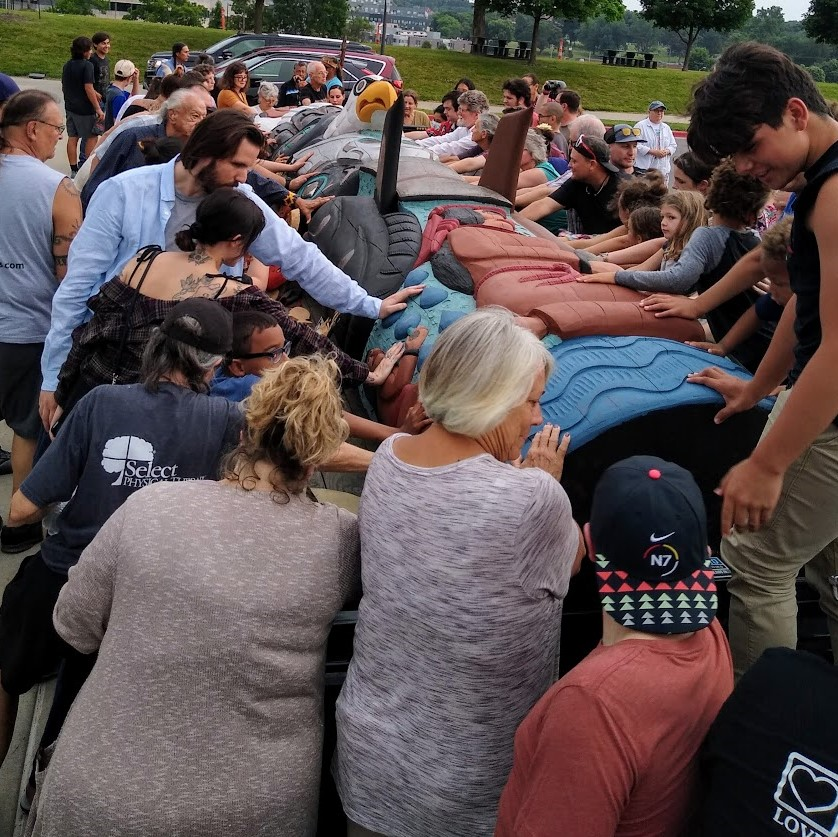 When creators of a totem pole that will be permanently housed in Washington, D.C., made a stop at Liberty Memorial in Kansas City in June, the Kansas City Indian Center helped to sponsor an event attended by several dozen people for the blessing of that artwork.