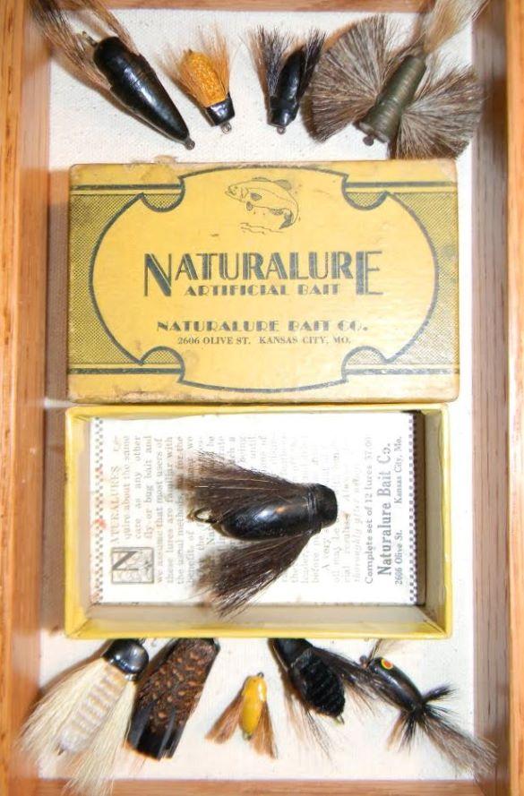 The Naturalure Artificial Bait Co. manufactured detailed flies in the early 1900s from its headquarters on Olive Street in Kansas City.