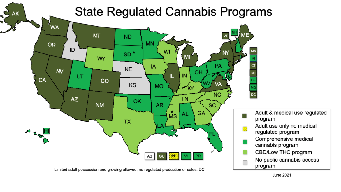 June 2021 map of state regulated cannabis programs.