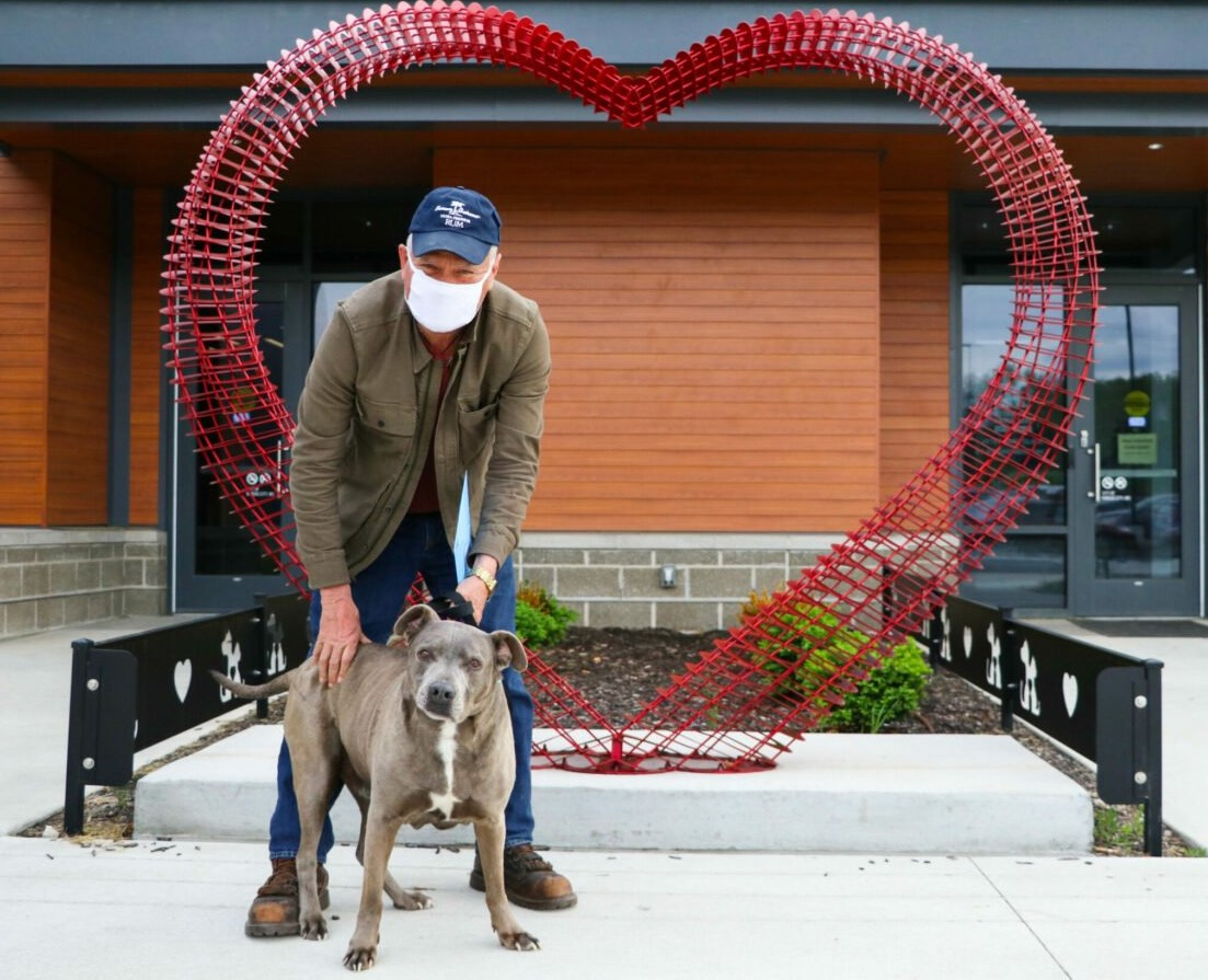 Larry, a truck driver from Wisconsin, was reunited with his dog, Trover, by KC Pet Project.