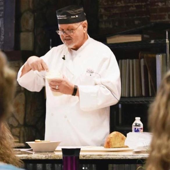 Farm to Market Bread Co. founder Mark Friend teaches a baking class.
