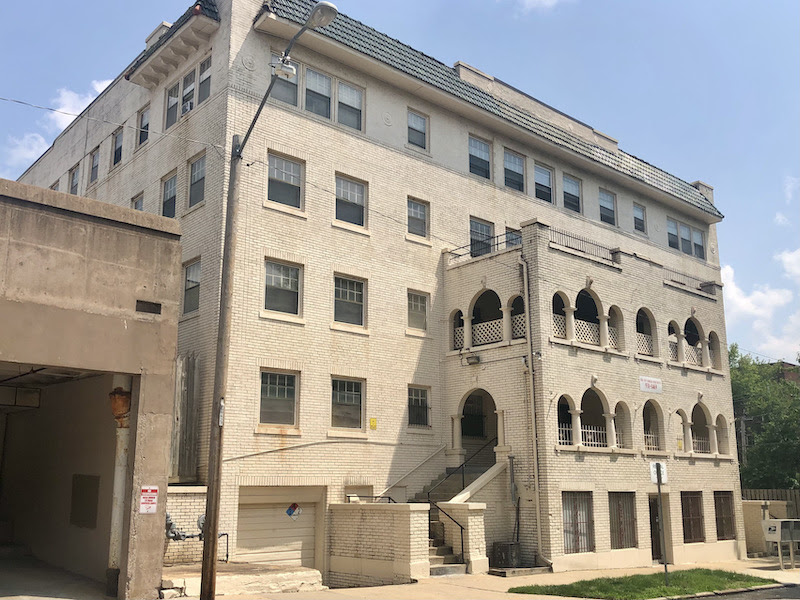 The Mac development plan calls for renovating the old New Yorker apartments at 3521 Baltimore as affordable rentals.
