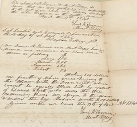 Documents held at the Clay County Archives & Historical Library in Liberty include these circuit court records which detail the formal partition of four enslaved persons among several Clay County residents.