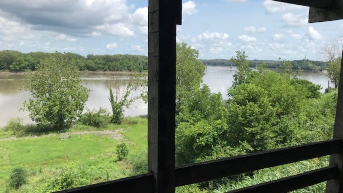 Although years of channelization work has changed the appearance of the Missouri River from what explorers Meriwether Lewis and William Clark saw during their 1804 expedition, the view of the river from the bluff at the reconstructed Fort Osage is still commanding.