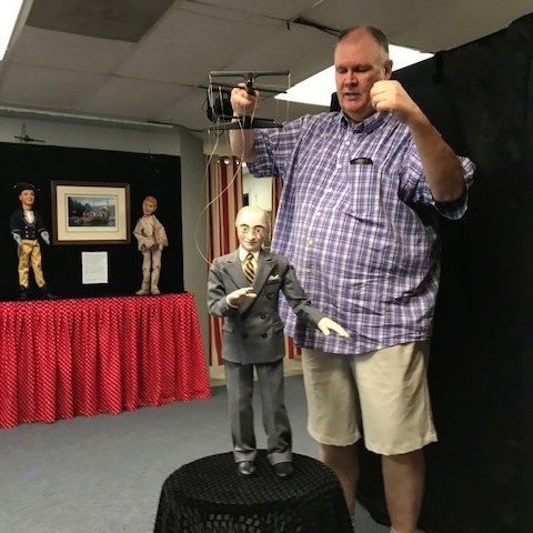 """Kraig Kensinger, artistic director for the Puppetry Arts Institute of Independence, believes the institute's lighthearted """"Missouri Birthday Bash,"""" which features a Harry Truman marionette, represents a family-friendly program that is unique among other bicentennial events."""