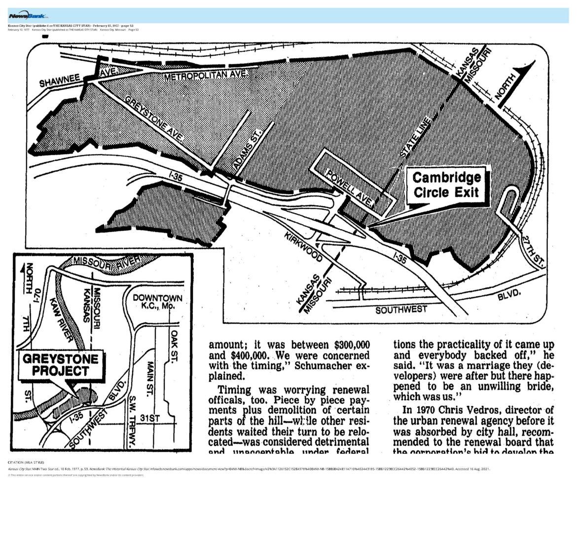 """An article from the Kansas City Star in 1977 shows the proposed map for the """"Greystone Heights Project"""" developed by Dean's Fairmont Development Co. (Newsbank)"""