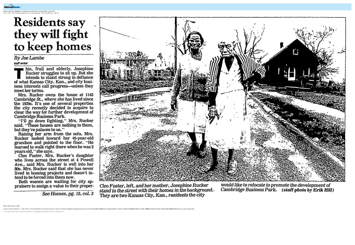 Cleo Foster and Josephine Rucker were some of the last few people, along with the Nave family, to leave the Greystone Heights area, according to the Star article from 1984. (Newsbank)