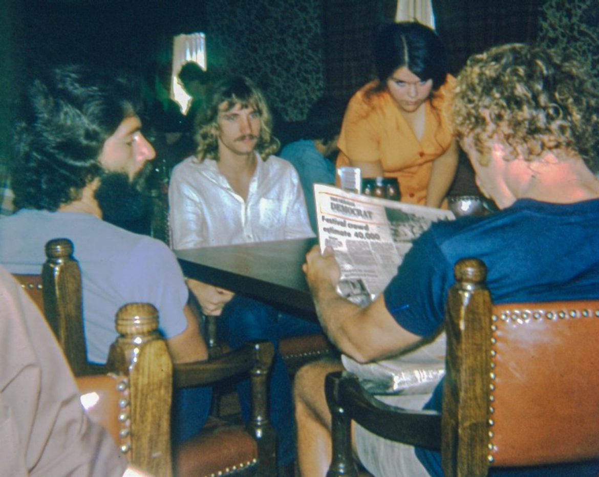 Joe Walsh (second from left) and his band photographed at the Ramada Inn in Sedalia, Missouri.