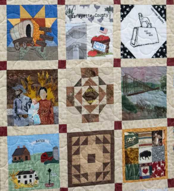 Blocks of the Missouri Bicentennial Quilt are arranged geographically.