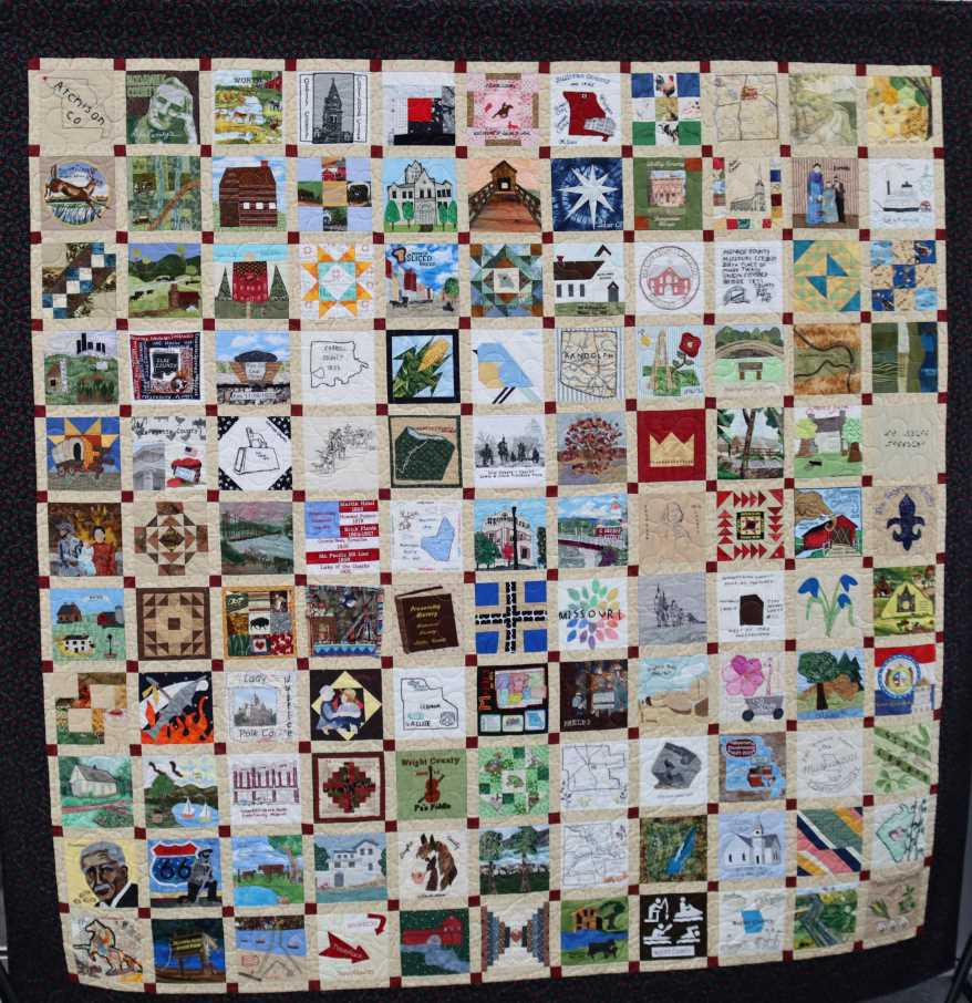 The Missouri Bicentennial Quilt is big enough to cover a California king sized bed. It features 121 unique blocks.