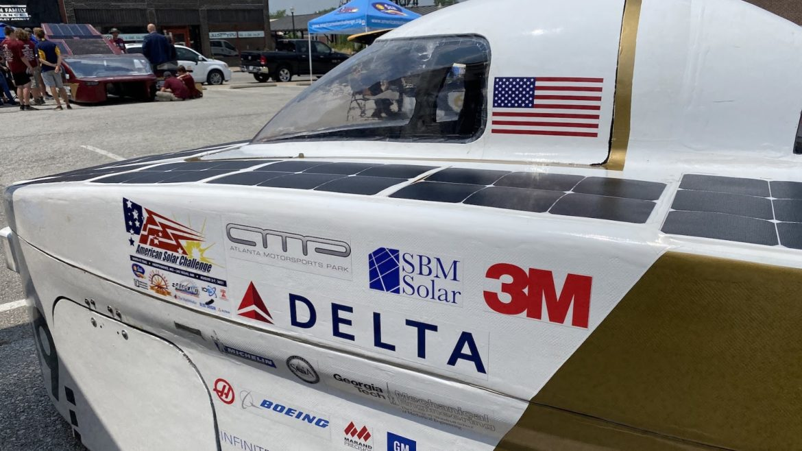 """Georgia Tech's repaired ride, following a crash sustained at last month's """"Scrutineering."""""""