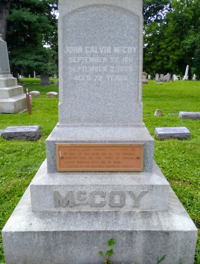 John Calvin McCoy, founder of the Town of Westport, which later merged with the Town of Kansas to create Kansas City, is buried at a prominent site in Union Cemetery.