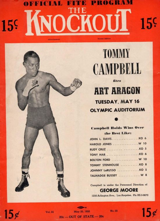 """In 1956 Kansas City, Kan. fighter Tommy Campbell testified that he, on orders from a Los Angeles fight promoter, had taken a dive in a 1950 fight against """"Golden Boy"""" Art Aragon. Campbell later said that, despite his successful amateur and professional boxing career, he had """"ended up with nothing."""""""