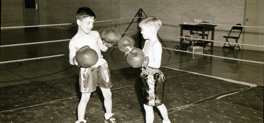 The Jackson County juvenile court officials who established the McCune Home for Boys in 1907 believed boxing to be part of the path to responsible adulthood. This undated photo suggests the program continued for decades and included participants of many age brackets.