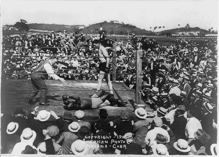 In 1915 Kansas native Jess Willard defeated Jack Johnson to win the heavyweight championship in Havana, Cuba.