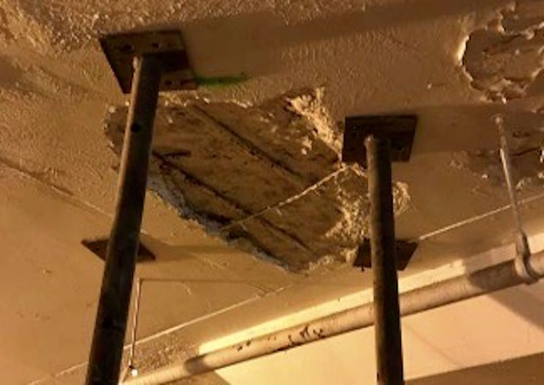 Braces were installed to shore up the deteriorating lower levels of the Barney Allis Plaza underground garage.