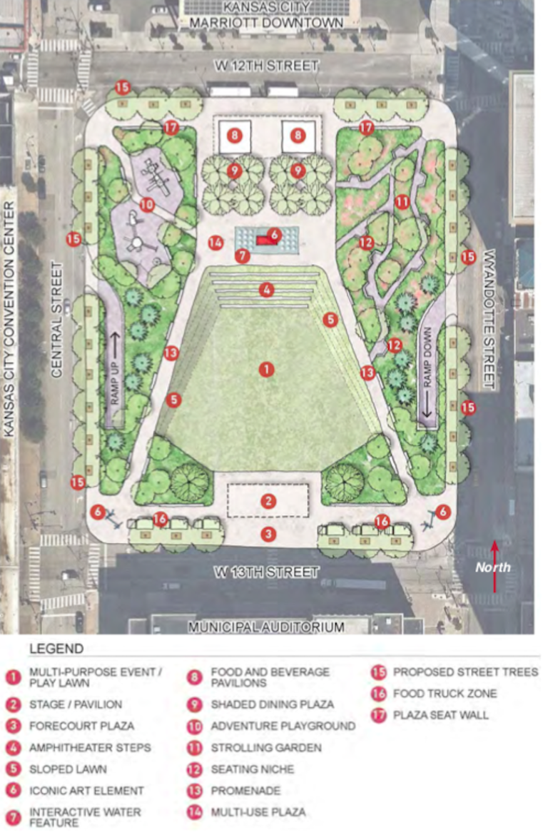 Barney Allis Plaza would be lowered to street level with many new amenities added under an option suggested by the Urban Land Institute in 2018. The city manager now wants to add affordable housing to the mix.