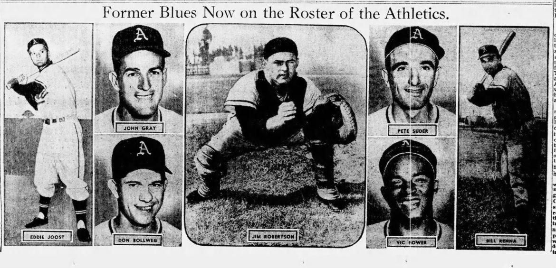 Seven former Kansas City Blues were on Kansas City's first Athletics roster.