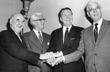 Arnold Johnson (second from right), purchased the Philadelphia Athletics in 1954.