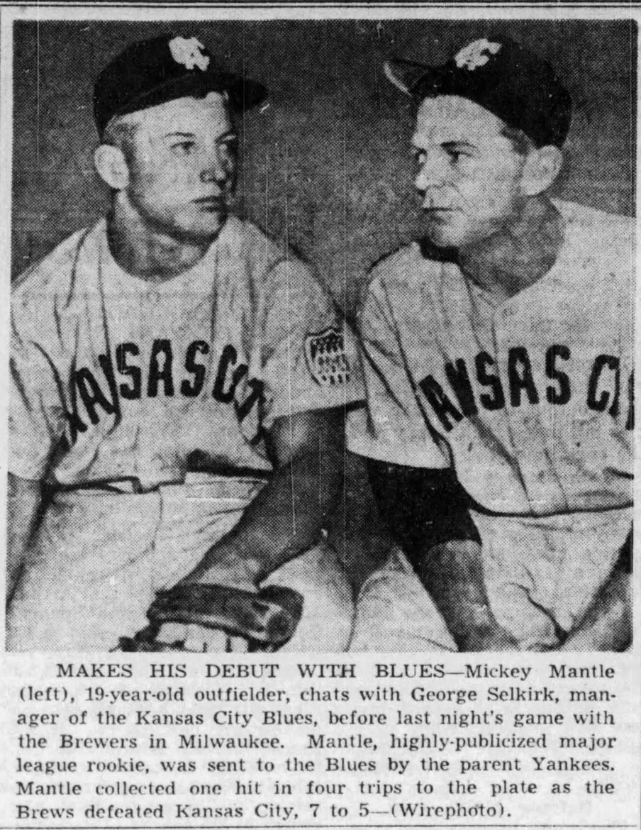 Mickey Mantle and Kansas City Blues manager George Selkirk.