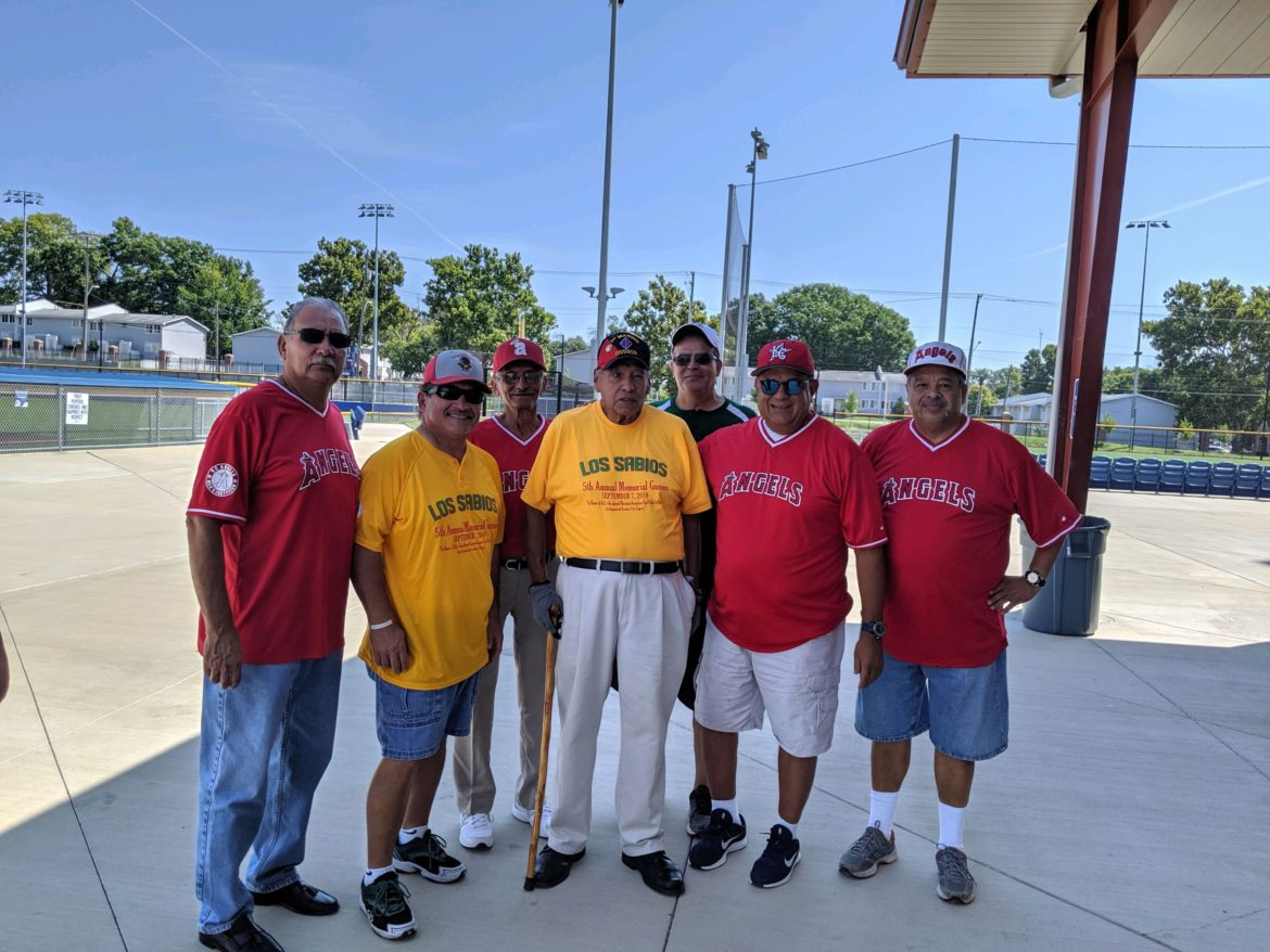 """Los Sabios"""" comprises original ball players, like Tony Moreno pictured here, center."""