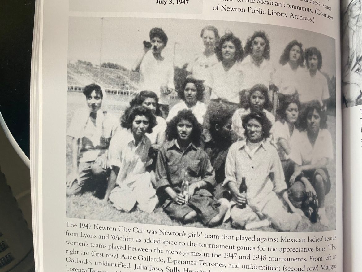 """A photo of the 1947 women's team from Newton in the book """"Mexican American Baseball in Kansas City."""""""