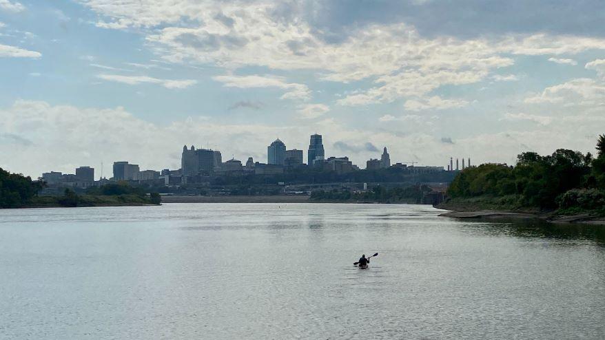 Kayaker Graham Jordison headed east on the Missouri River toward St. Louis.