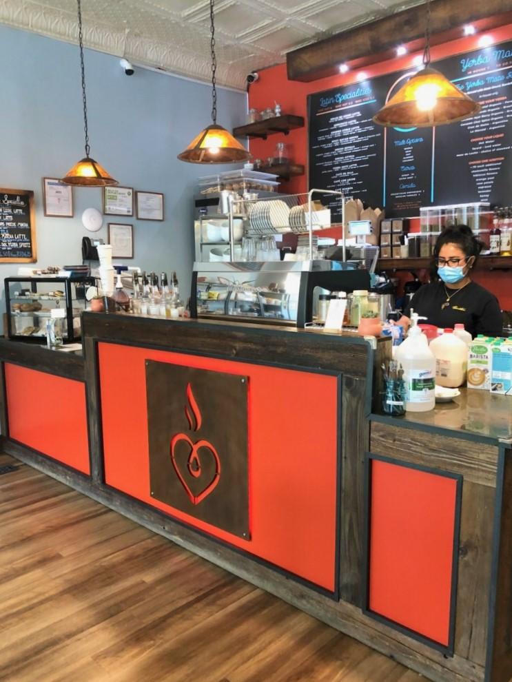 Café Corazon's menu is split between Latin coffee and yerba mate drinks.