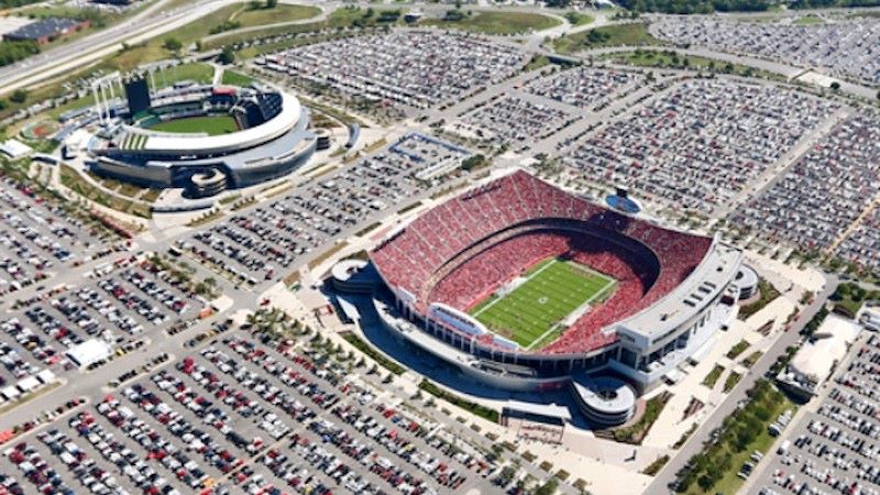 Aerial view of the Truman Sports Complex.