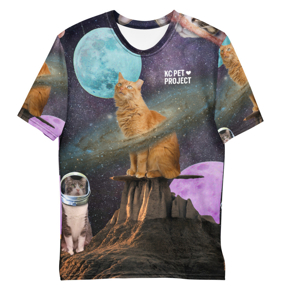 A KC Pet Project t-shirt depicting an orange cat in outer space.