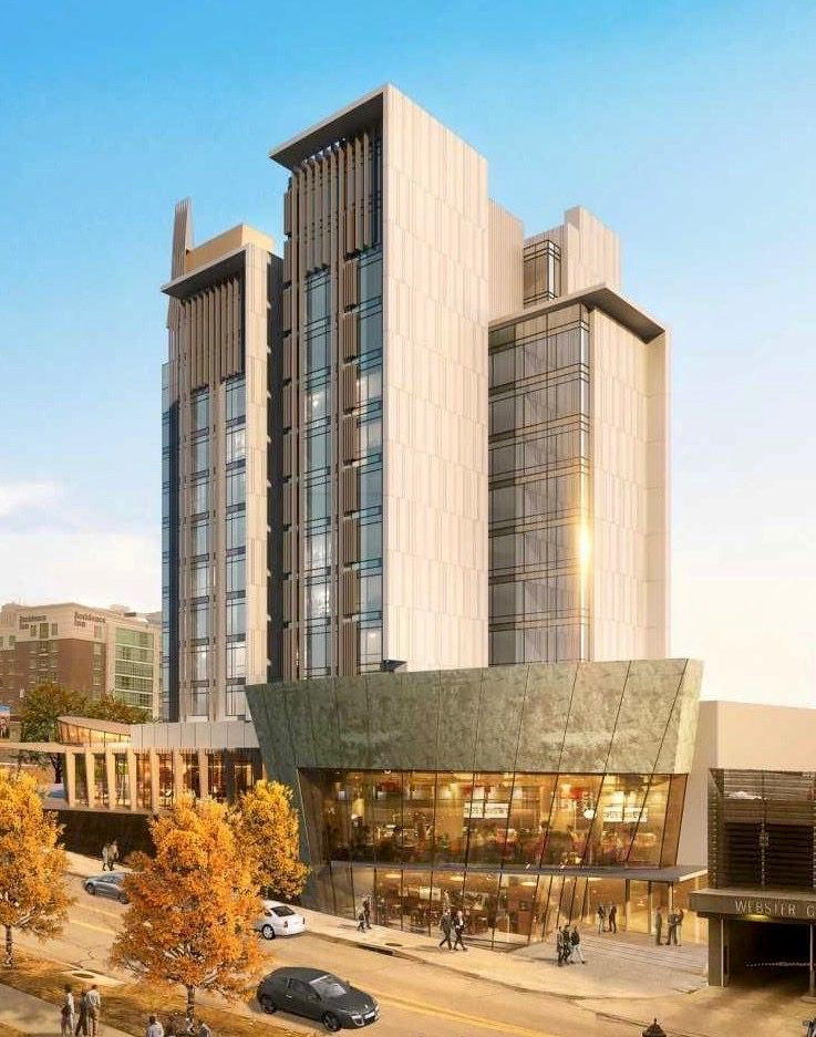 The 13-story Hotel Bravo! project is proposed for a site across Wyandotte Street from the Kauffman Center for the Performing Arts.
