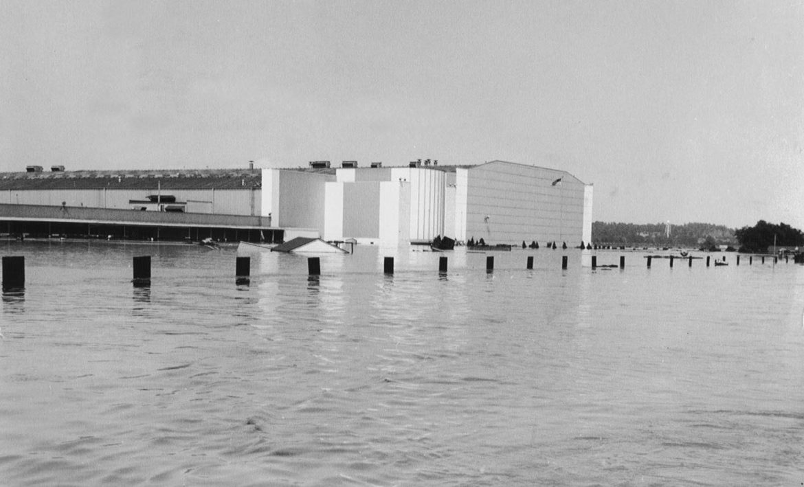 General Motors plant in the Fairfax Industrial District as it was inundated by flood waters in 1951.
