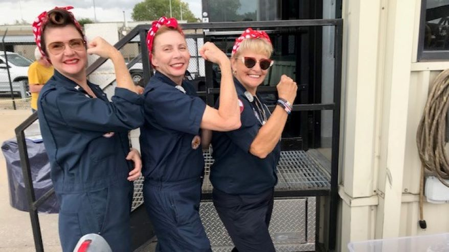 """""""Tribute Rosies,"""" whose members honor the women who joined the World War II civilian workforce then employed in the nation's defense industries."""