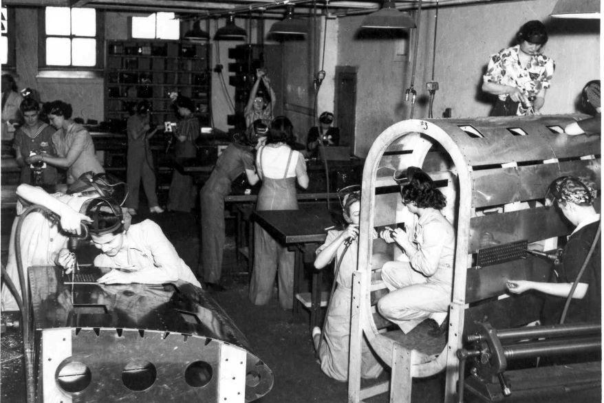 By the fall of 1942, women held 27% of the jobs at the North American Aviation B-25 plant.