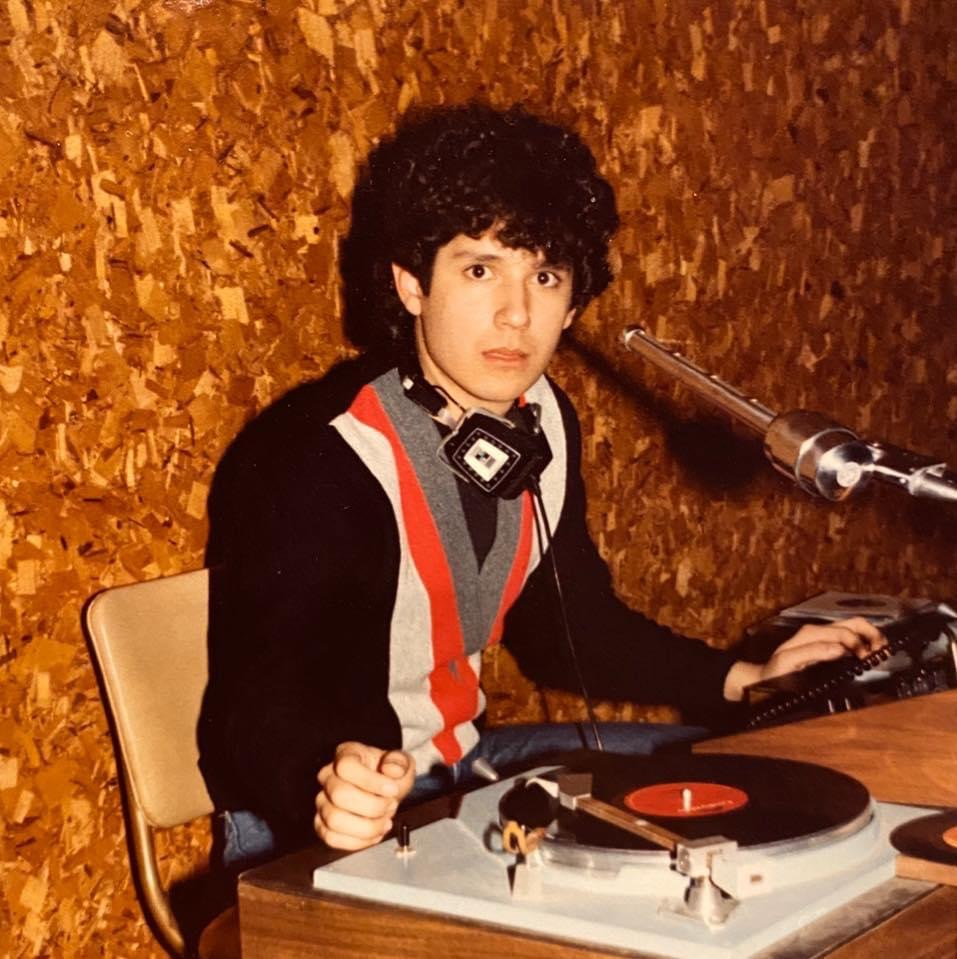 A young Velasquez DJing in Lawrence, Kansas, in the early 1980s.