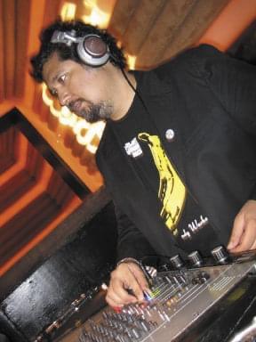 DJ Ray Velasquez in the Cielo DJ booth in New York City.