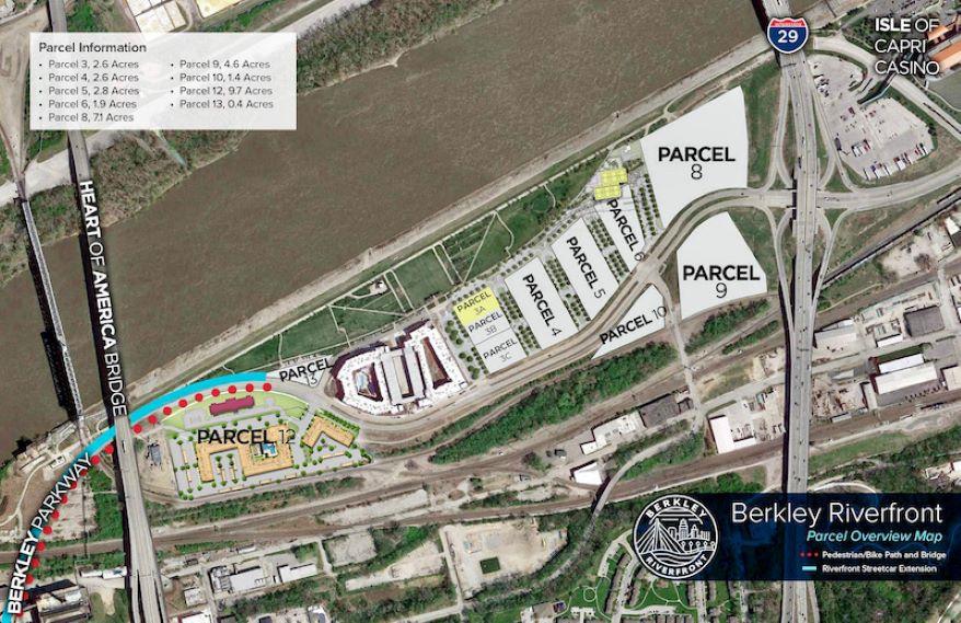 Site plan for riverfront development