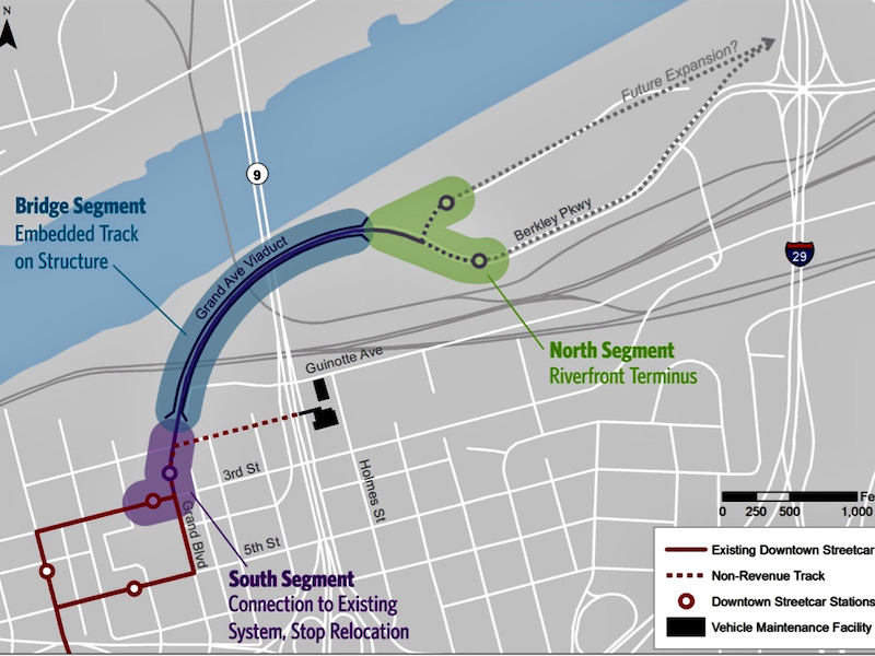 Map of the streetcar extension to the riverfront